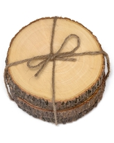Lipper International Acacia Tree Bark Coasters Set of 4 - Hemp Tie (4.5)