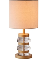 """Rivet Modern Brass-Trimmed Table Lamp With Bulb, 16.5""""H, Clear"""