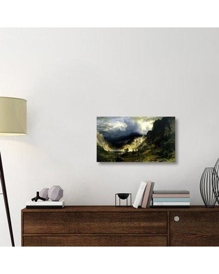 "East Urban Home 'A Storm in the Rocky Mountains Mt. Rosalie 1866' Graphic Art Print on Wrapped Canvas ERNI9796 Size: 17.4"" H x 30"" W x 1.5"" D"