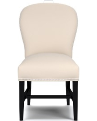 Maxwell Dining Side Chair with Handle, Signature Velvet, Snow, Polished Nickel