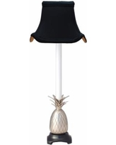 Suffield Pewter Pineapple Buffet Lamp with Black Pagoda Shade
