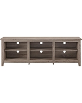 "70"" Wood Media TV Stand Storage Console - Driftwood - Saracina Home, Brown"