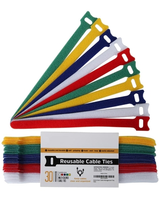 Stalwart 8 in. Reusable Cable Management Ties in Multi-Color (Set of 30)