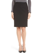 BOSS Vilea Tropical Stretch Wool Pencil Skirt, Size 12 in Black at Nordstrom