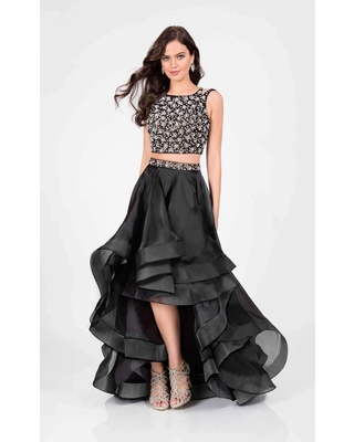 Terani Couture - 1711P2692 Two Piece Embellished High Low Dress