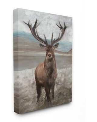 Stupell Industries Moose Encounter Landscape Animal Watercolor Painting Canvas Wall Art by Stellar Studio