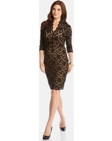 Karen Kane Scalloped Lace Cocktail Dress, Size Small in Black/Nude at Nordstrom