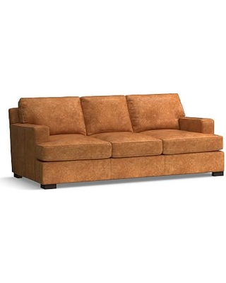 "Townsend Square Arm Leather Sofa 84"", Polyester Wrapped Cushions, Leather Statesville Caramel"