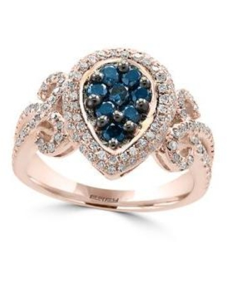 Effy Rose Gold 1/2 ct. t.w. Blue Diamond and 1/2 ct. t.w. White Diamond Ring in 14K Rose Gold