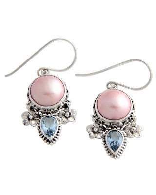 Handmade Sterling Silver Love Pearl and Topaz Earrings (Indonesia) (Solid)