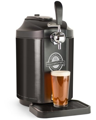 HomeCraft CBD5BS Black Stainless Steel Easy-Dispensing Tap Beer Growler Cooling System Includes Reusable Growler & CO2 Cartridges