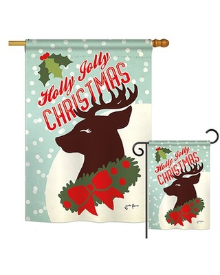 Amazing Deal On Holly Jolly Christmas Winter Christmas Impressions 2 Sided Polyester 40 X 28 In Flag Set Breeze Decor