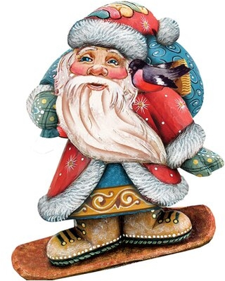 """Decorative Downslope Santa Scenic Wood Ornament The Holiday Aisle® Size: 15"""" H x 12"""" W x 0.5"""" D"""