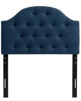 CorLiving Calera Diamond Tufted Fabric Arched Panel Headboard - Twin (Blue)