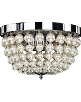"""Moscato 11"""" Wide Chrome 3-Light Faux Pearl Ceiling Light"""