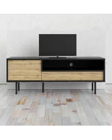 Match Black Matte and Wotan Light Oak 1-Drawer TV Stand with 1-Door