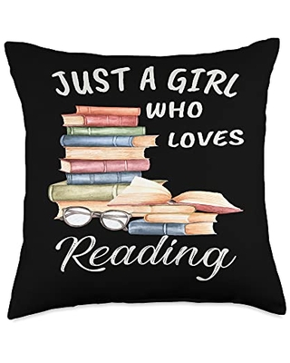 TeePrincess Cute Art Watercolor Just A Girl Who Loves Reading Throw Pillow, 18x18, Multicolor