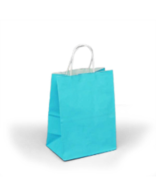 Blue Twisted Handle Bags Gusset - 4 3/4 - Quantity: 25 - Twist Handle Bags - Size: Cub Width: 8 Height/Depth: 10 1/4 by Paper Mart