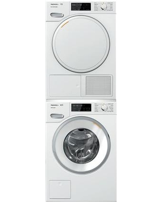 """Front Load Smart WWF060WCS 24"""" Washer with TWF160WP 24"""" Electric Dryer and WTV502 Stacking Kit Laundry Pair in Lotus"""