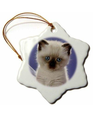 The Holiday Aisle Siamese Kitten Snowflake Holiday Shaped Ornament X113731394