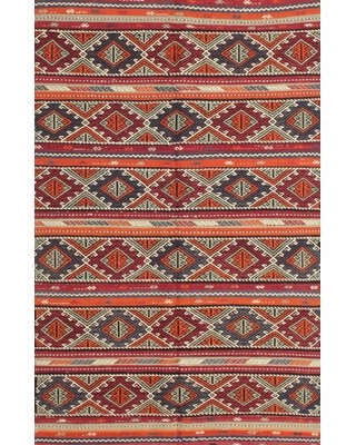 Contemporary Red/Orange/Green Area Rug East Urban Home Rug Size: Rectangle 3' x 5'