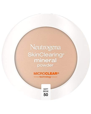 Neutrogena SkinClearing Mineral Acne-Concealing Pressed Powder Compact, Shine-Free & Oil-Absorbing Makeup with Salicylic Acid to Cover, Treat & Prevent Breakouts, Soft Beige 50.38 oz