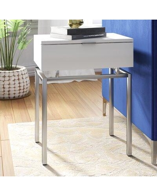 Mercer41 Harva End Table with Storage BF184851 Table Base Color: Gray Table Top Color: White