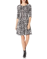Gabby Skye Women's 3/4 Sleeve Round Neck Floral Print Fit and Flare Dress, Grey/Black, 12