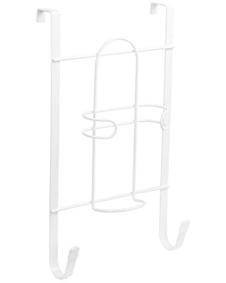 Spectrum Diversified Over-the-Door Holder r, No-Installation Iron & Ironing Board Storage, Sturdy Steel Construction With Rubberized Hook Ends Laundry Room Storage & Closet Organization, White, Large