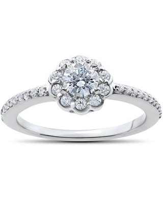 14k White Gold 1/2ct TDW Diamond Halo Engagement Ring (4)