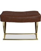 James Square Ottoman, Brass, Italian Distressed Leather, Solid, Caramel