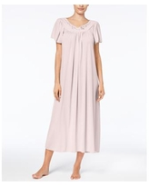 Miss Elaine Embroidered Tricot Long Nightgown - Pink