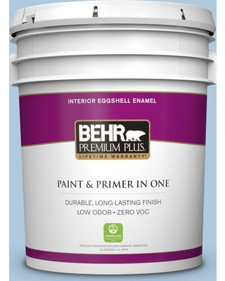 BEHR Premium Plus 5 gal. #M510-2 Life at Sea Eggshell Enamel Low Odor Interior Paint and Primer in One
