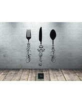 Utensil Decals (5ft) Kitchen Wall Decal   Knife Spoon Fork Wall Decal    Dining
