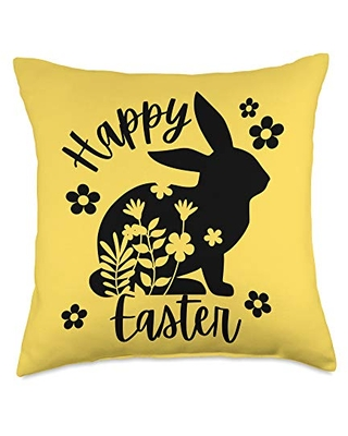 New Deal On Happy Easter Floral Bunny Spring Throw Pillow 18x18 Multicolor