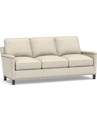 Tyler Square Arm Upholstered Sofa with Bronze Nailheads, Down Blend Wrapped Cushions, Performance Brushed Basketweave Ivory