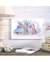 "August Grove Red Barn Painting Print on Gallery Wrapped Canvas Size: 12"" H x 18"" W x 2"" D"