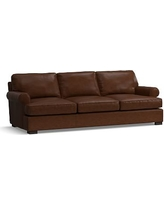 Townsend Roll Arm Leather Grand Sofa, Polyester Wrapped Cushions, Leather Legacy Chocolate
