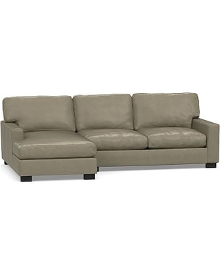 Turner Square Arm Leather Right Arm Sofa with Chaise Sectional, Down Blend Wrapped Cushions, Legacy Taupe