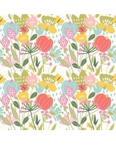"Bungalow Rose Ledya Removable Field Flowers Nursery 8.33' L x 100"" W Peel and Stick Wallpaper Roll BF182731"