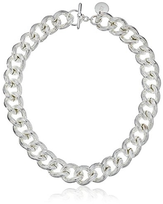 """Uno Aerre Fine Silver Plated Textured Twisted Link Chain Necklace, 18"""""""