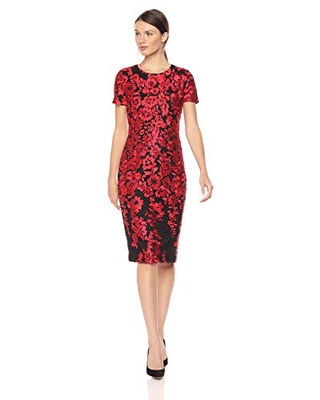 Carmen Marc Valvo Infusion Women's Embroidered Cocktail Dress, red/Black, 12