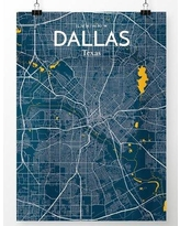 """OurPoster.com 'Dallas City Map' Graphic Art Print Poster in Amuse OP-DFW Size: 24"""" H x 18"""" W"""