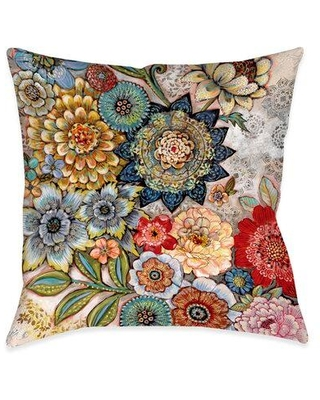 Amazing Deal On Winston Porter Haskell Boho Bouquet Indoor Outdoor Throw Pillow Polyester Polyfill Polyester Polyester Blend In Red Blue Orange Size 18x18