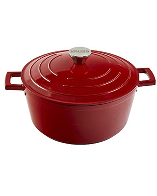 IMUSA USA, Red 5 Quart Cast Aluminum Dutch Oven With Stainless Steel Knob