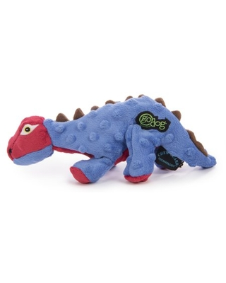 goDog Dinos Spike Durable Plush Squeaker Chew Guard Dog Toy, Small
