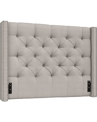 Harper Upholstered Tufted Low Headboard with Bronze Nailheads, Queen, Sunbrella(R) Performance Chenille Cloud