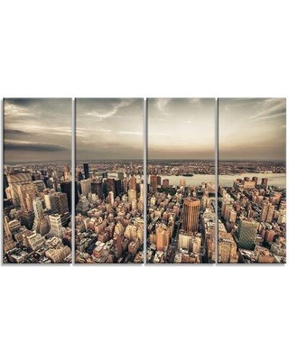 Design Art 'Manhattan Skyscrapers Aerial View' 4 Piece Photographic Print on Wrapped Canvas Set PT14324-271