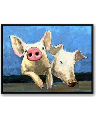 """August Grove 'Just Pigging Out' Acrylic Painting Print on Canvas AGGR7964 Size: 30"""" H x 40"""" W Format: Black Framed"""