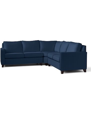 Cameron Square Arm Upholstered 3-Piece L-Shaped Wedge Sectional, Polyester Wrapped Cushions, Performance Everydayvelvet(TM) Navy